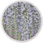 Round Beach Towel featuring the photograph Wisteria Before The Hail by Nareeta Martin