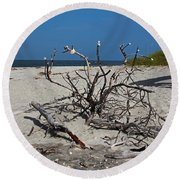 Round Beach Towel featuring the photograph Wistful But Unwavering by Michiale Schneider