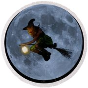 Witch Flying At Full Moon. Round Beach Towel