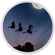 Witches Over Combstone Tor Round Beach Towel