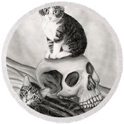 Witch's Kittens Round Beach Towel