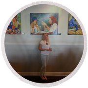 With 3 Paintings Round Beach Towel