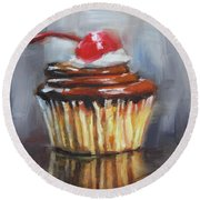 With A Cherry On Top Round Beach Towel