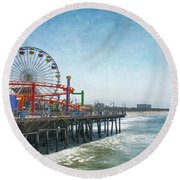 With A Smile On My Face Round Beach Towel by Laurie Search