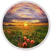 Round Beach Towel featuring the photograph With Gratitude by Phil Koch