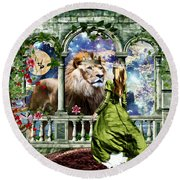 Round Beach Towel featuring the digital art With Him I Speak Face To Face by Dolores Develde