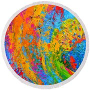 Within Circles 2 - Colorful Modern Abstract  Painting Palette Knife Work Round Beach Towel