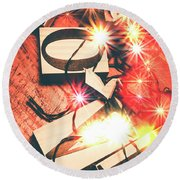 With Love And Lights Round Beach Towel
