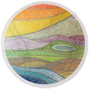 With The Flow Round Beach Towel
