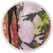 Round Beach Towel featuring the painting Something In The Way by Jayime Jean