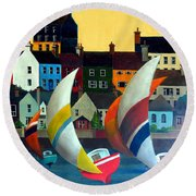 With The Wind In Kinsale, West Cork Round Beach Towel