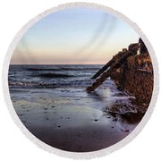 Withernsea Groynes At Sunset Round Beach Towel