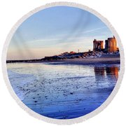 Withernsea Sunset And Moon Round Beach Towel