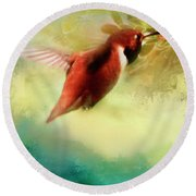 Within An Instant Round Beach Towel by Janie Johnson
