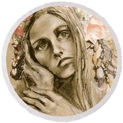 Round Beach Towel featuring the drawing Within by Mary Schiros