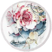 Round Beach Towel featuring the painting Without Fear Of The Storm by Anna Ewa Miarczynska