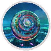 Round Beach Towel featuring the painting Withstanding Orby Weather by Robin Moline