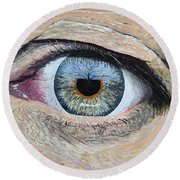 Round Beach Towel featuring the painting Witness by Kevin Daly