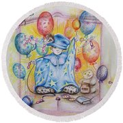 Wizard Boy Round Beach Towel by Rita Fetisov