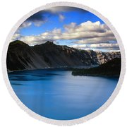 Wizard Island Stormy Sky- Crater Lake Round Beach Towel