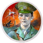 Round Beach Towel featuring the painting W.j. Symons Vc by Ray Agius