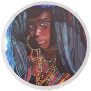Virtuous Wodaabe Girl          From The Attitude Girls  Round Beach Towel
