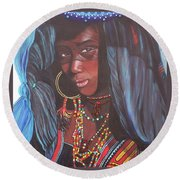 Blue Cat Productions             Wodaabe Girl Round Beach Towel