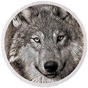 Round Beach Towel featuring the digital art Wolf  by Aaron Berg