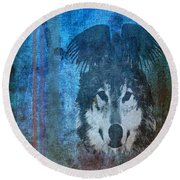 Wolf And Raven Round Beach Towel