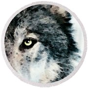 Wolf Art - Timber Round Beach Towel by Sharon Cummings