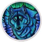 Wolf Aurora Round Beach Towel