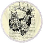 Wolf, Bear, Deer, Owl Wildlife Animals Black And White Round Beach Towel