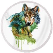 Wolf Face Watercolor Round Beach Towel