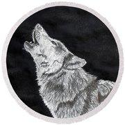 Wolf Howl Round Beach Towel by Stan Hamilton