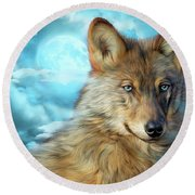 Round Beach Towel featuring the mixed media Wolf In Moonlight 2 by Carol Cavalaris