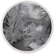 Wolf Lodge Creek Winter Round Beach Towel