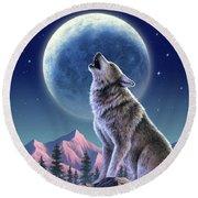 Wolf Moon Round Beach Towel