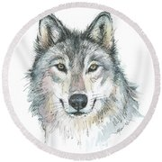 Wolf Round Beach Towel by Olga Shvartsur