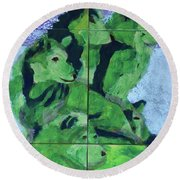 Round Beach Towel featuring the painting Green Pack Of Wolves by Donald J Ryker III