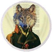 Wolf Portrait Illustration Round Beach Towel