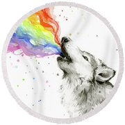 Wolf Rainbow Watercolor Round Beach Towel by Olga Shvartsur