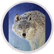 Wolf Study Round Beach Towel