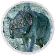 Wolf Trio Round Beach Towel