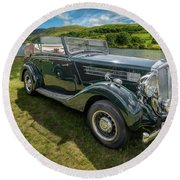 Round Beach Towel featuring the photograph Wolseley Classic Car by Adrian Evans