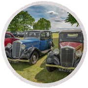 Round Beach Towel featuring the photograph Wolseley Motors by Adrian Evans