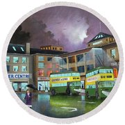 Round Beach Towel featuring the painting Wolverhampton Trolley Bus Terminus by Ken Wood