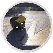Wolverine Helmet On The Diag Round Beach Towel