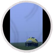 Wolverine Helmet On The Field In Heavy Fog Round Beach Towel