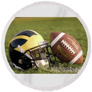 Wolverine Helmet With Football On The Field Round Beach Towel