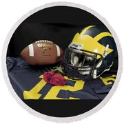 Wolverine Helmet With Roses, Jersey, And Football Round Beach Towel